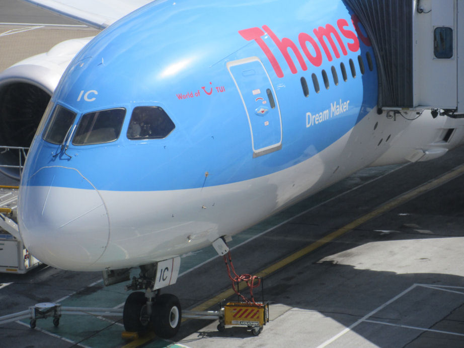 Boeing 787 Dreamliner in Tui livery at Gatwick Airport. Click Here to go the flights page.